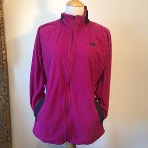 NORTHFACE-Hot Pink Zip Front Boho Fleece Jacket-XL